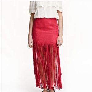 H&M COACHELLA Red Fringe Maxi Dress Sz 6